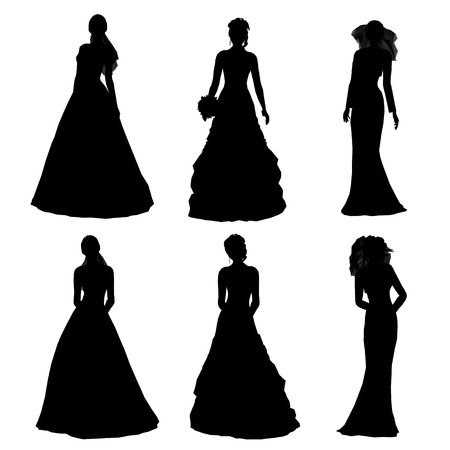 silhouette of bride photo