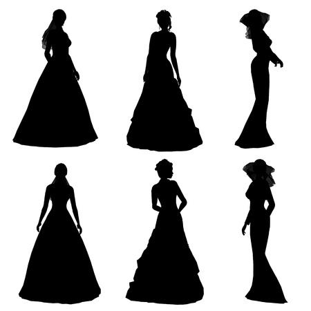 silhouette de la mari�e Banque d'images