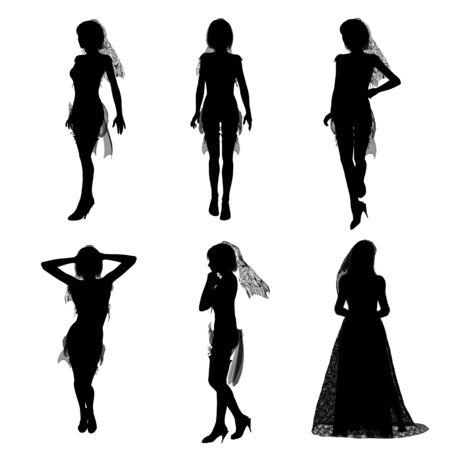 silhouette of bride Banco de Imagens - 10777228