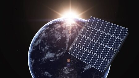 earth and solar panel photo