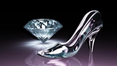 Chaussure de diamant et de verre