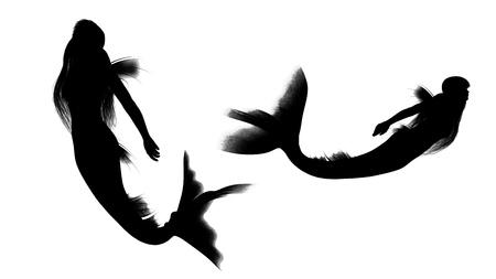 fairy silhouette: mermaid  Stock Photo