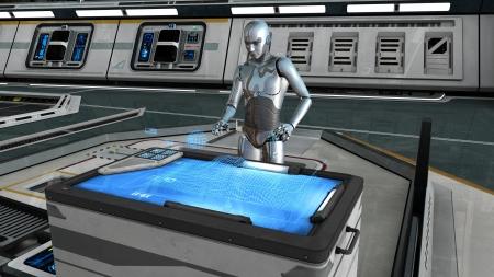 コントロール センター内ロボット 写真素材