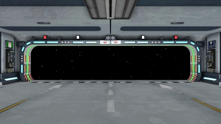 宇宙船のゲート 写真素材