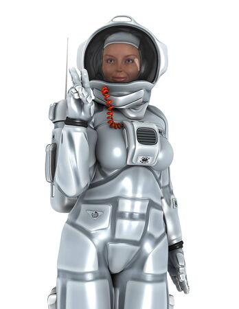zero gravity: astronauta isolato su bianco Archivio Fotografico