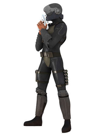 Man with fighting suit