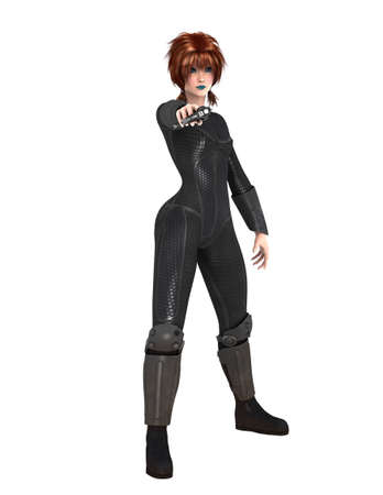 Woman with black fighting suit 写真素材
