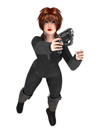 Woman with black fighting suit Stock Photo