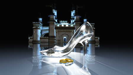 cinderella shoes: Cinderella castle Stock Photo