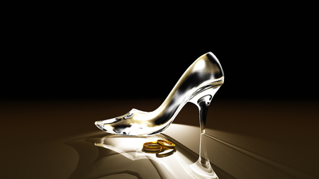 shoes woman: glass shoes Stock Photo
