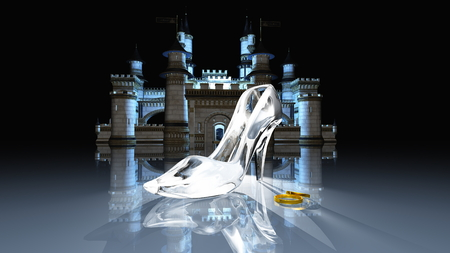 cinderella shoes: Cinderella castle Stock Photo