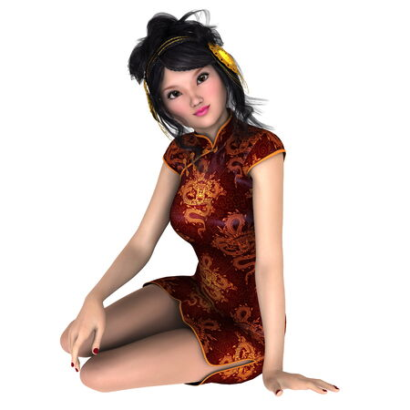 chinese dress: young woman with Chinese dress Stock Photo