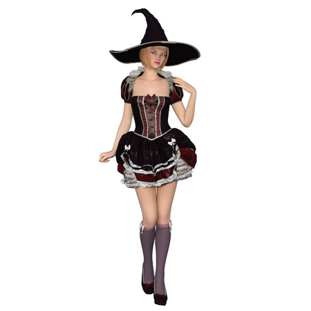 3d witch: 3d young woman with witch costume Stock Photo