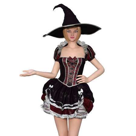 3d witch: 3d young man with witch costume Stock Photo
