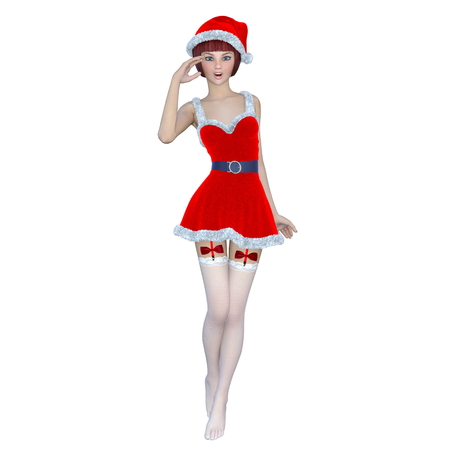 santa claus costume: young woman with Santa Claus costume