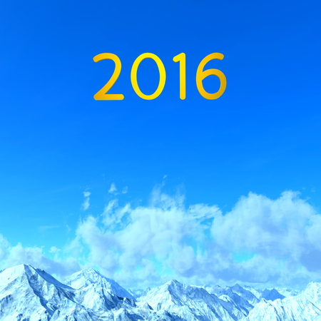 the snowy mountains: 3D illustration of 2016 and of snowy mountains Stock Photo