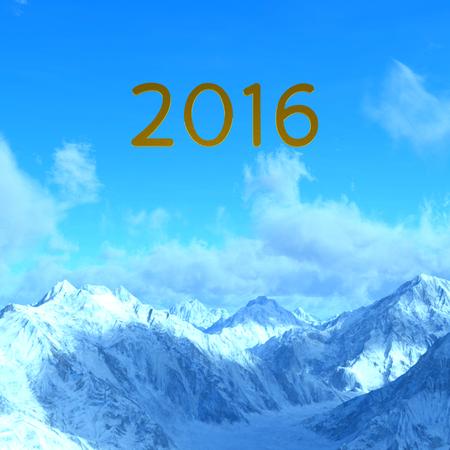 montañas nevadas: Ilustración 3D de 2016 y de las montañas nevadas Foto de archivo
