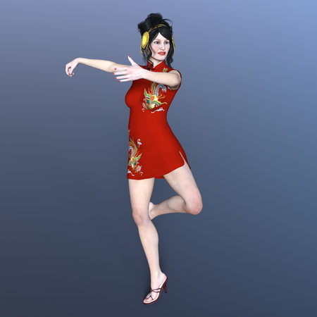 qipao: Kung-Fu girl Stock Photo