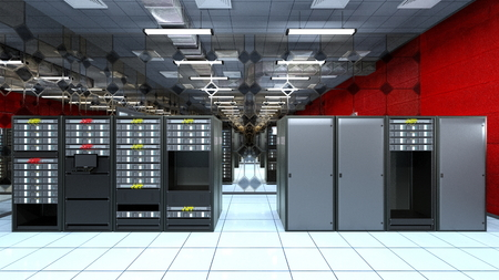 systems operations: Supercomputing Center Stock Photo