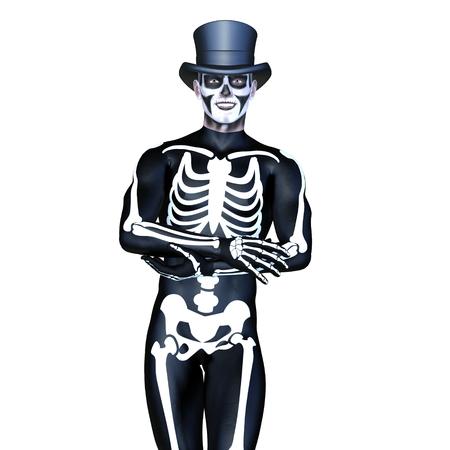 skeleton costume: skeleton costume man Stock Photo