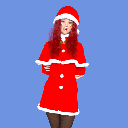 young woman with Santa Claus costume