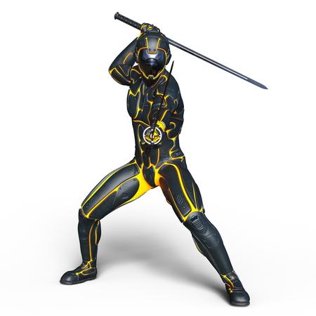 esgrimista: esgrimista cyborg Foto de archivo