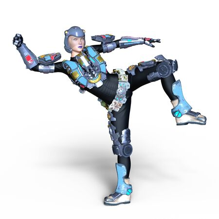 female cyborg Stock Photo