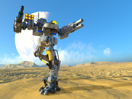 warfare: battle robot Stock Photo