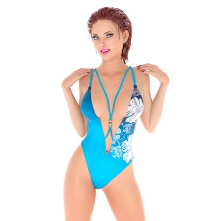 Swimabnutzung Frau Standard-Bild