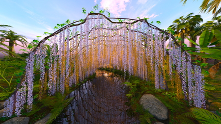 garden of a wisteria trellis and the pond Stock Photo