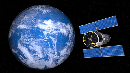 earth and man-made satellite Stock Photo