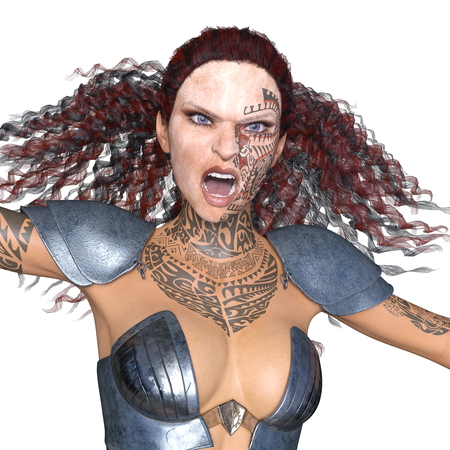 female warrior 3d render Stock Photo