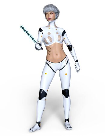 female cyborg Stock Photo