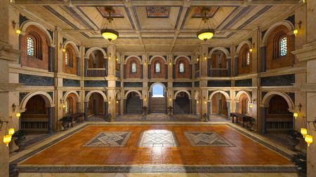 grand hall, 3d render