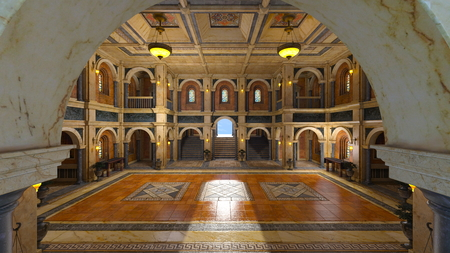 3d grand hall Stock Photo