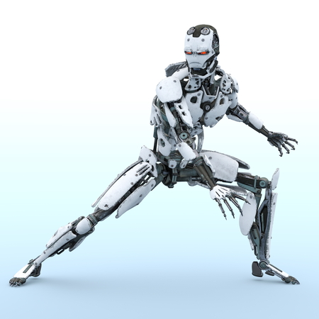 robot build in 3d animation 写真素材