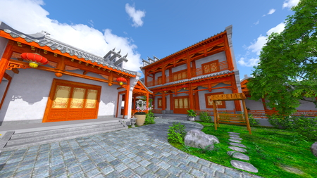 Chinese style residence and courtyard
