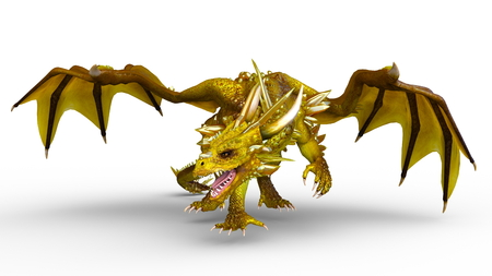 dragon in 3d animation isolated on white