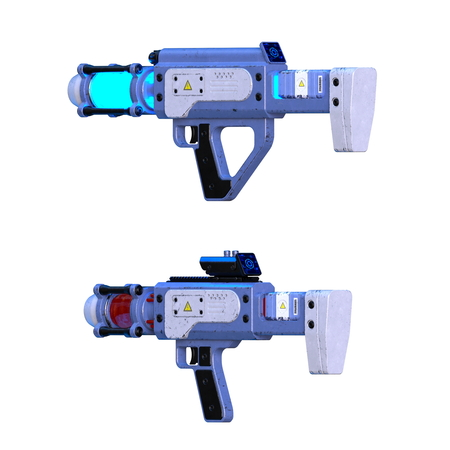 Laser gun in 3d animation isolated on white
