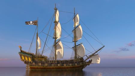 sailing boat in 3d animation Standard-Bild