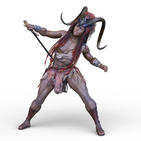 3D CG rendering of Sexy ethnic female