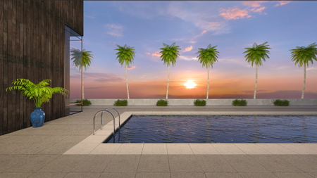 3D CG rendering of residence with pool