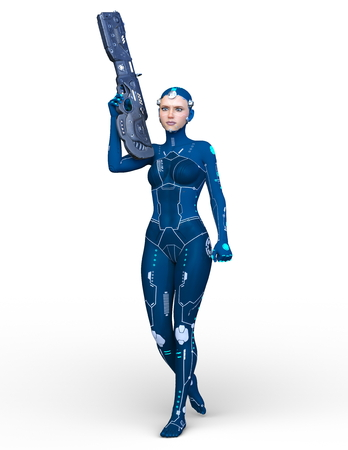 3D CG rendering of super woman Stock Photo