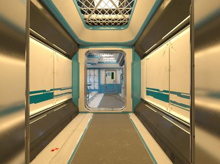 3D CG rendering of Modern building aisle Stock fotó