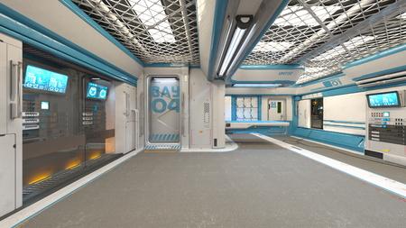 3D CG rendering of Modern building aisle