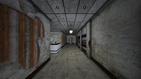 3D CG rendering of building aisle