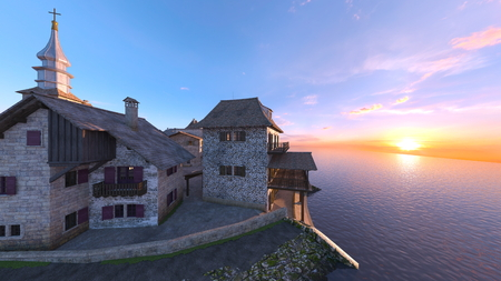 3D CG rendering of port town