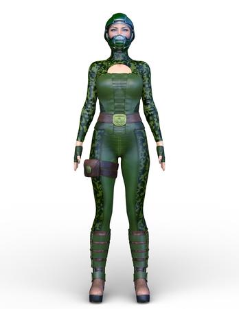 3D CG rendering of soldier female