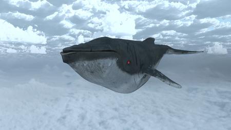 3D CG rendering of Flying whale Banco de Imagens