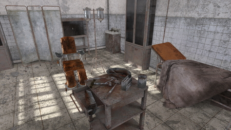 3D CG rendering of Abandoned hospital